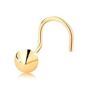Piercing do nosa v žltom 14K zlate, zahnutý - lesklý kužeľ GG143.05 vyobraziť