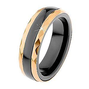 Keramický prsteň čiernej farby, brúsené oceľové pásy v zlatom odtieni H1.3 vyobraziť