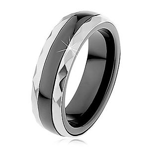 Keramický prsteň čiernej farby, brúsené oceľové pásy v striebornom odtieni H1.7 vyobraziť