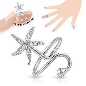 Nastaviteľný prsteň na necht, ligotavá morská hviezdica, lesklá gulička R46.18 vyobraziť