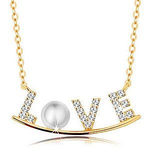 Zlatý náhrdelník 585 - zirkónový nápis LOVE na lesklom oblúku, biela perla GG139.25 vyobraziť
