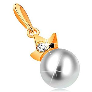 Prívesok zo žltého 14K zlata - guľatá biela perla s trojcípou korunkou GG123.04 vyobraziť