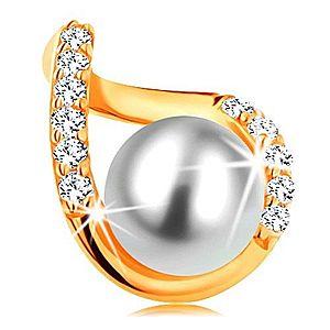 Prívesok zo žltého 14K zlata - zvlnený obrys kvapky so zirkónmi a bielou perlou GG123.10 vyobraziť