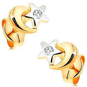 Náušnice z kombinovaného 14K zlata - biela hviezda a žltý mesiac, puzetky GG164.05 vyobraziť