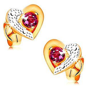 Zlaté náušnice 585 - ružový rubín v dvojfarebnom obryse srdca, gravírovanie GG161.15 vyobraziť