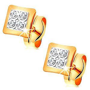 Náušnice v kombinovanom 14K zlate - malé štvorce zdobené čírymi zirkónikmi GG166.04 vyobraziť