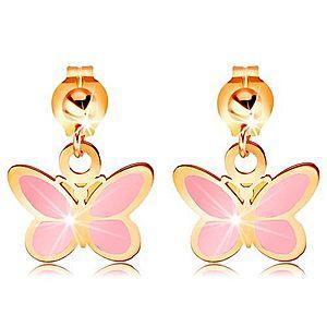 Zlaté náušnice 585 - lesklá gulička a visiaci ružový motýlik, glazúra GG167.03 vyobraziť
