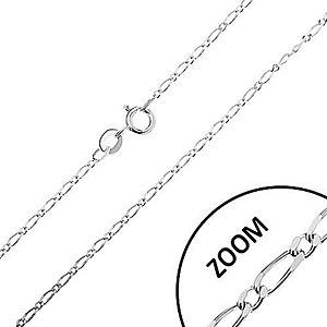 Lesklá strieborná retiazka 925, dlhé a krátke oválne články, 1, 3 mm AC17.23 vyobraziť