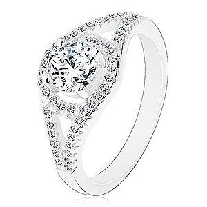 Ligotavý zásnubný prsteň, striebro 925, rozdvojené ramená, kruh so zirkónom M02.19 vyobraziť