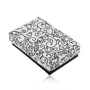 Krabička na set alebo náhrdelník v čierno-bielom prevedení, potlač ornamentov U31.11 vyobraziť