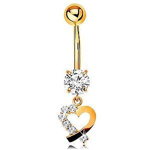 Zlatý 9K piercing do pupka - kontúra srdiečka s čírou zirkónovou polovicou GG183.23 vyobraziť