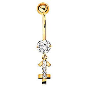 Zlatý 9K piercing do bruška - číry zirkón, ligotavý symbol zverokruhu - STRELEC GG183.16 vyobraziť