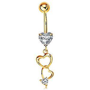 Zlatý 375 piercing do bruška - kontúry sŕdc a číre zirkónové srdiečka GG183.29 vyobraziť