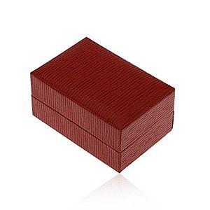 Darčeková krabička na prsteň alebo náušnice, tmavočervená farba, ryhy Y10.18 vyobraziť