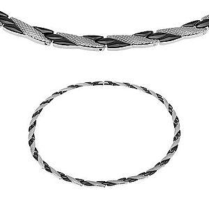 Oceľový náhrdelník, šikmé línie čiernej a striebornej farby, hadí vzor, magnety S08.08 vyobraziť