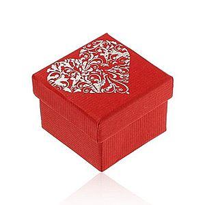 Darčeková krabička v červenom odtieni, veľké zdobené srdce striebornej farby Y49.02 vyobraziť