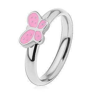 Detský prsteň z chirurgickej ocele, strieborný odtieň, motýlik s ružovou glazúrou H3.19 vyobraziť