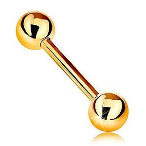 Zlatý 14K piercing - barbell s dvoma lesklými guličkami, žlté zlato, 12 mm GG184.25 vyobraziť