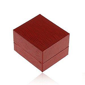 Darčeková krabička na náušnice, koženkový povrch tmavočervenej farby, ryhy Y49.14 vyobraziť