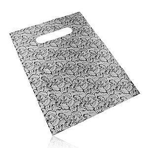Darčekové igelitové vrecúško, kvetinový motív, strieborno-čierny odtieň Y50.20 vyobraziť