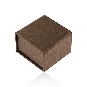 Darčeková krabička na prsteň alebo náušnice, hnedá s perleťovým leskom, magnet Y55.14 vyobraziť