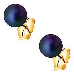 Zlaté náušnice 585 - guľatá perla s farebným odleskom, puzetové zapínanie GG188.27 vyobraziť