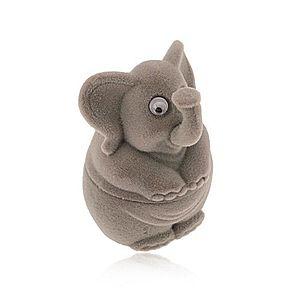 Darčeková krabička na prsteň alebo náušnice - zamatový sivý sloník Y02.03 vyobraziť
