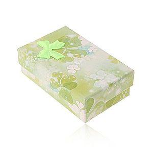 Papierová krabička na set alebo retiazku, motív zelených a bielych trojlístkov Y07.02 vyobraziť