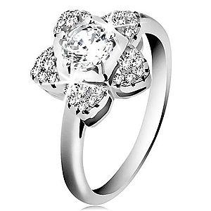 Zásnubný prsteň, striebro 925, ligotavý zirkónový kvietok čírej farby H9.18 vyobraziť