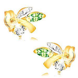 Zlaté náušnice 585 - vetvička s listami, zelený smaragd, číry diamant BT501.05 vyobraziť