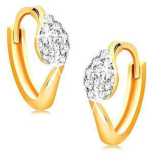 Kĺbové náušnice zo 14K zlata - krúžky s kvapkou z čírych zirkónikov GG15.18 vyobraziť