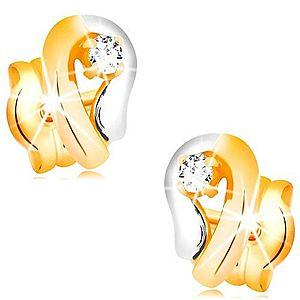 Zlaté 14K náušnice, dvojfarebná kontúra kvapky so žiarivým diamantom BT501.32 vyobraziť