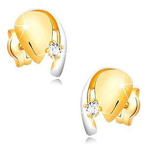 Diamantové zlaté 14K náušnice, dvojfarebná kvapka so žiarivým briliantom BT501.33 vyobraziť