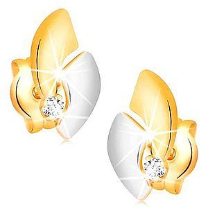 Zlaté 14K náušnice s ligotavým diamantom, dvojfarebné oblúky, puzetky BT501.48 vyobraziť