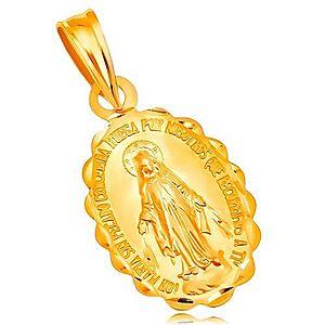 Prívesok zo žltého 14K zlata - oválny medailón Panny Márie, obojstranný GG204.30 vyobraziť