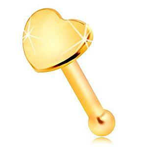 Rovný piercing do nosa v žltom 14K zlate - malé lesklé srdiečko GG207.01 vyobraziť