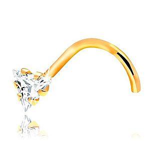 Zahnutý piercing do nosa - žlté 14K zlato, číry zirkónový trojuholník GG207.12 vyobraziť