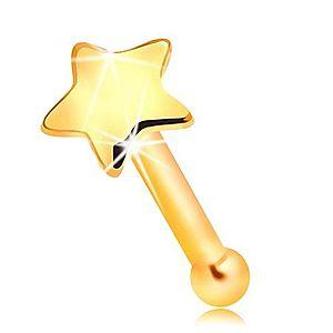 Zlatý 585 piercing do nosa - malá lesklá hviezdička, rovný tvar GG207.04 vyobraziť