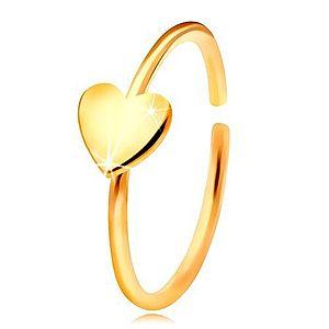 Zlatý 585 piercing do nosa, lesklý krúžok so srdiečkom, žlté zlato GG206.06 vyobraziť