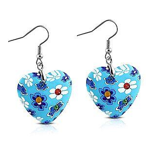 Náušnice visiace na háčikoch, modré FIMO srdiečka s kvetmi a zirkónmi AA13.18 vyobraziť