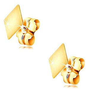Zlaté 14K náušnice s puzetkami - plochý hladký kosoštvorček, vysoký lesk GG208.31 vyobraziť