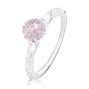 Zásnubný prsteň, striebro 925, okrúhly ružový zirkón, trblietavé ramená M13.17 vyobraziť