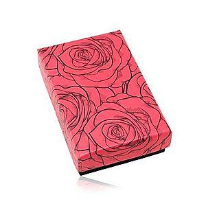 Darčeková krabička na set alebo náhrdelník, červeno-čierna kombinácia, ruže Y19.20 vyobraziť