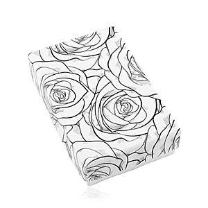 Čierno-biela krabička na set alebo náhrdelník, potlač rozkvitnutých ruží Y17.01 vyobraziť