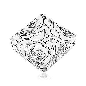 Krabička na náušnice alebo dva prstene, čierny vzor ruží na bielom podklade Y11.14 vyobraziť