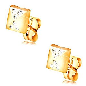 Náušnice v žltom 14K zlate, lesklý malý ihlan, drobné číre zirkóny GG208.40 vyobraziť