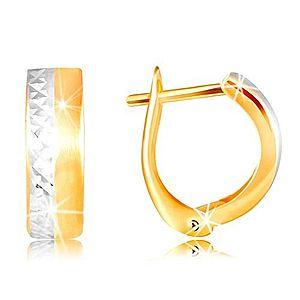 Náušnice zo 14K zlata - hladký matný pás žltej farby, brúsená línia z bieleho zlata GG217.12 vyobraziť