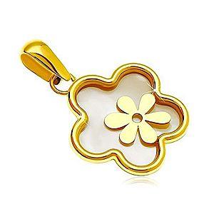Prívesok zo žltého 14K zlata - kvet s výplňou z perlete a menším kvietkom GG18.07 vyobraziť