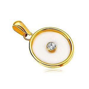 Prívesok v žltom 14K zlate - kruh s výplňou z perlete a čírym zirkónom v strede GG18.11 vyobraziť