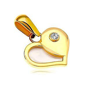 Zlatý 14K prívesok - srdce s polovicou z bielej perlete a okrúhlym zirkónom GG18.10 vyobraziť